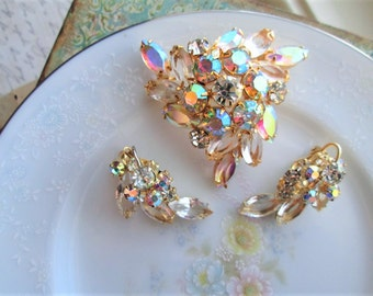 Vintage Juliana D&E VERIFIED Large Clear Marquis Rhinestones, Gold Tone, AB Rhinestones, Brooch, Earrings, Figure 8s, Excellent!!