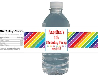 Rainbow Party (15ct) Waterproof Water Labels Bottle Birthday Party Baby Shower
