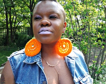 Simply Orange Crochet Web Hoops