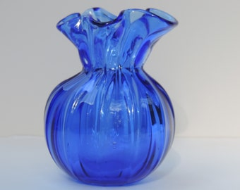Vintage Cobalt Glass Vase Thick Ribbed Hand Blown Glass