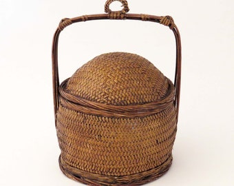 "Vtg ASIAN LUCKY WEDDING Basket w Woven Body & Dome Lid / 13"" Tall Asian Lunch - Chinese Sewing - Utility Basket / Asian Decor-Housewarming"