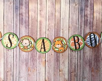 It's A Boy Jungle Animal Baby Shower Banner - Safari, Zoo Animals, Baby Boy