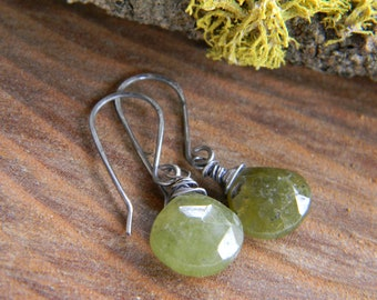 simple and rustic vessonite earrings - oxidized sterling silver