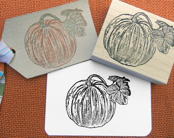 Pumpkin Rubber Stamp / Halloween Stamp / Thanksgiving Stamp -  Handmade by BlossomStamps