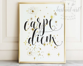 Carpe diem PRINTABLE art,inspirational quote,motivational wall art,seize the day,quote printable,new years printable,printable decor