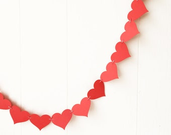 Red Heart Garland / Red Wedding Garland  / Heart Decoration / Heart Bunting / Anniversary Garland Adjustable Hand Sewn