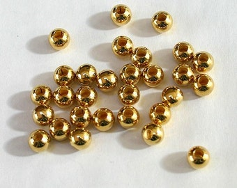 100pcs Metal Beads Gold Plated Brass Round 6mm Large Hole 3mm