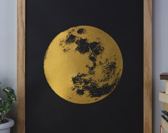 Moon Print, Gold Print, Reflection Moon, Boho, Bohemian, fathers day, A3 Art Print, Prints, Screenprint, Gift Idea, Print, Reflection
