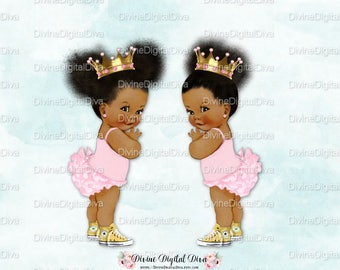 Ruffle Pants Natural Hair Pony Tails Afro Puffs Light Pink Gold Crown Sneakers | African American Princess | Clipart Instant Download