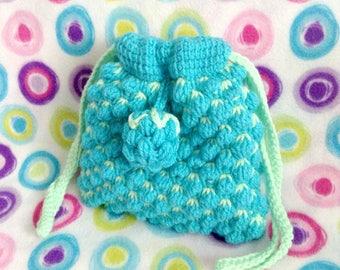 Blue Raspberry Tunisian Crochet Drawstring Purse/Pouch