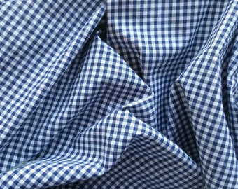 "MINI CHECKERED GINGHAM 1/4 Inch Poly Cotton Printed Fabric - Navy- 57""/59"" Width Sold By The Yard"