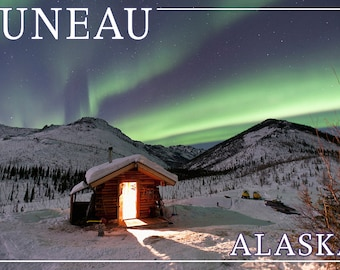 Juneau, Alaska - Northern Lights and Cabin (Art Prints available in multiple sizes)