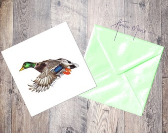 Duck Greeting Card - Flying Mallard Drake