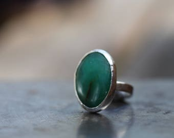 Chrysoprase stone set in  solid silver  Size O ring or 7 1/4