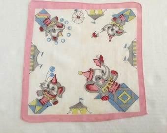 Vintage Handkerchief / Child's Elephant Jack in the Box