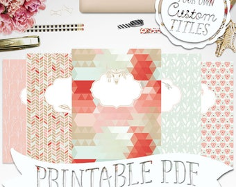 Vintage Aztec Tribal Printable Binder Cover & Insert | Shabby | 8.5x11 - Set of 5 - PDF - Instant Download