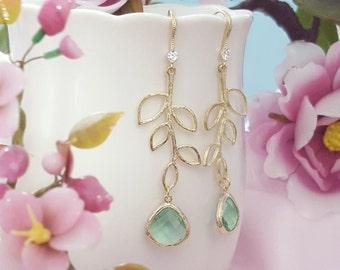 Mint Green Crystal Earrings - Glass Teardrop Earrings - Gold Leaf Earrings Dangle - Branch Earrings - Peridot Teardrop Earrings E2504