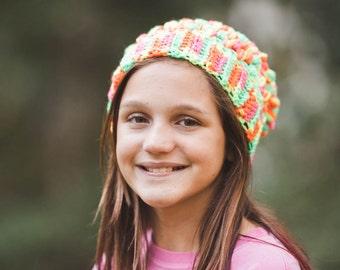 Neon Puff Stitch Beanie--Child Sized