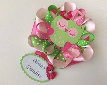 Pink and Green owl Baby shower corsage/Grandma to Be Baby shower corsage/Mommy to Be Baby shower corsage