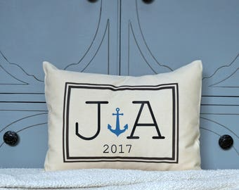 Cotton anniversary, Personalized Couples gift, Anchor pillow, couples Christmas, boaters gift, engagement gift