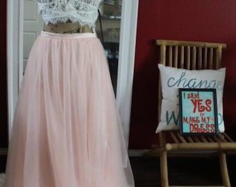 Blush pink tulle skirt / maxi adult tutu / floor length skirt / bridesmaids skirt / bridal skirt blush tulle skirt maxi skirt / blush skirt