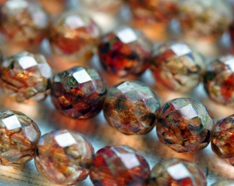 Premium Czech Beads - 12mm Siam Crystal Picasso - Faceted Rounds - Bead Soup Beads