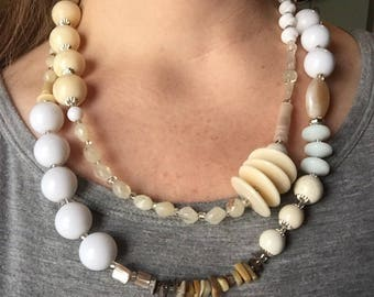 Creamy Double-Stranded Asymmetrical Necklace