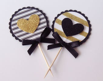 Gold and black heart cupcake toppers. Bridal shower, birthday party