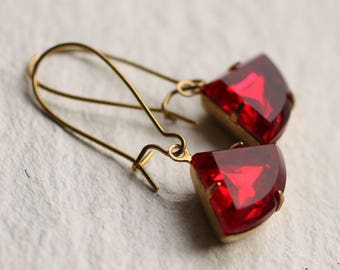 Ruby Art Deco Earrings, Red Garnet Earrings, Jewel Earrings, Garnet Earrings, July Birthday Gift,  January Birthstone