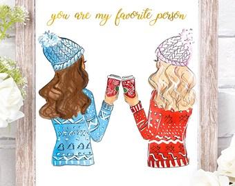 Best Friends Illustration, Sister Gift, Holiday Gift for BFF, Best Friend Gift, Friendship Gift, BFF Gift, Digital Download