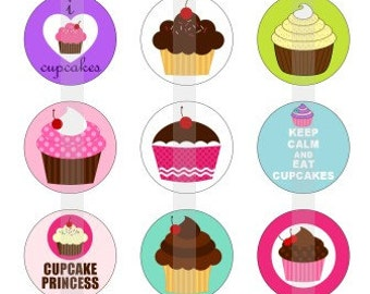 """I Heart Cupcakes - one 4x6 inch digital sheet of 1"""" round images for bottlecaps, magnets, glass tiles, pendants etc"""