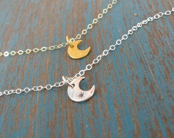 Gold tiny moon necklace - Silver tiny moon necklace Layering necklace - Sterling silver or 24K gold plated sterling silver option - WM110