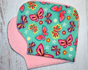 Burp Cloth Baby Shower Gift Set of Two Contoured Burp Cloths, Burp Rags, Gift for Girl Butterflies Flannel Pink Terry Cloth, Absorbent