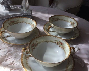 Beautiful Double Handle Soup Bowl and Saucer by Meito China