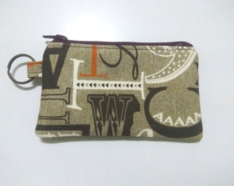 Fond of Fonts, zip coin purse, gift for graphic designers, writer wallet cardholder portefeuille, portmonnaie id180314 credit card holder
