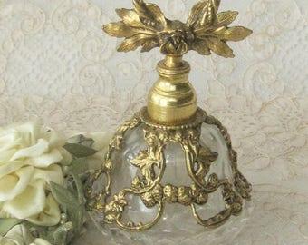 1950's - 60's Vintage Pressed Glass and Brass Perfume Bottle - Boudoir - Vanity