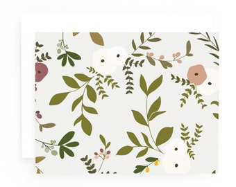 Floral Stationery Notecards, Wild Garden Folded Note Card Set of 8