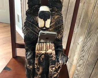Hand carved log bear