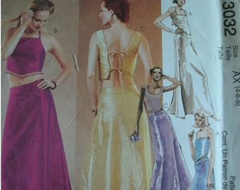 Misses Lined Tops and Lined Skirt Sizes 4-6-8 McCalls Evening Elegance Pattern 3032 - Younger Evening Wear Styling  UNCUT dated 2000