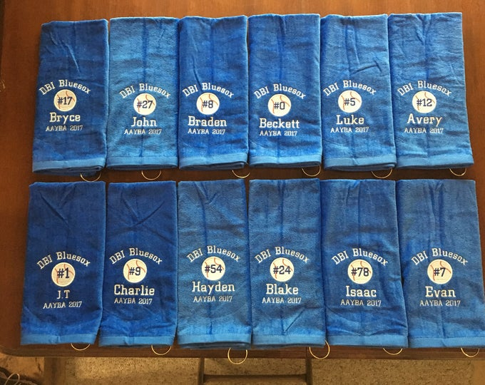 Personalized softball or baseball towel, 3 lines of lettering, personalized towels, custom embroidery, pin towel, softball gift, baseball