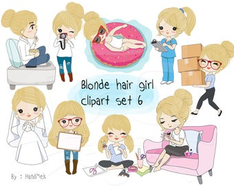 Blonde hair girl clipart set 6,girl stickers clipart instant download PNG file - 300 dpi