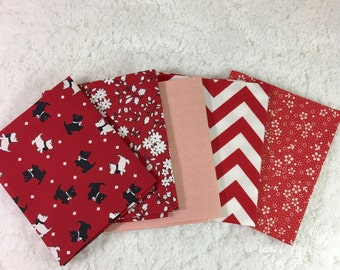 Reds Fat Quarter Fabric Bundle / 5 fat quarters / 100% cotton quilt shop 1st quality / Moda / Maywood / Scotties / Chevrons / Flowers