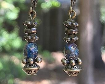 Blue Earrings, Bronze Earrings, Bohemian Earrings, Rustic Jewelry, Rustic Earrings, Boho Earrings, Ethnic Earrings, Small Earrings