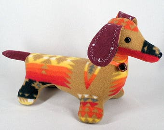 Morgan stuffed dog etsy plush navajo blanket dog tan dachshund stuffed animal by native american navajo artist delsey morgan publicscrutiny Choice Image