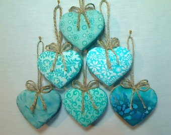 Turquoise Heart Ornaments | Handmade USA |Summer Decor |Party Favors | Bridal/Wedding |Tree Ornament |Gift Idea | Package Topper |Set/6 | #1