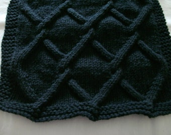 Hand Knit Dishcloth - color is black - measures approximately 91/2x10 inches
