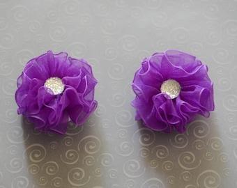 Purple Baby girl Hair Clips, sheer flower hair clips, flower hair clips, baby hair clips, Purple, hair clips