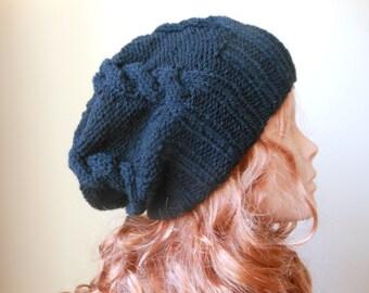 Hand Knit Slouchy Beanie Hat Acrylic Black