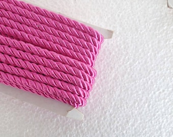 1.1 yards fuschia , 5 mm twist cord, twisted , Wrapped Thread Cord, Satin Twisted cord , Decoration,Fabric Rope Trim Accent for Crafting
