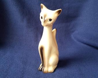 Long Neck Vintage Cat Figurine. 60s. Siamese Cat Figurine